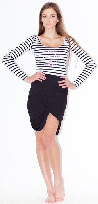 striped long sleeve tee rouged skirt - can be worn, with tulip shape at front, and gathers at back OR gathers at front and tulip at back so very versatile, very flattering, longer length as size gets bigger, ie small is short, large is allot longer