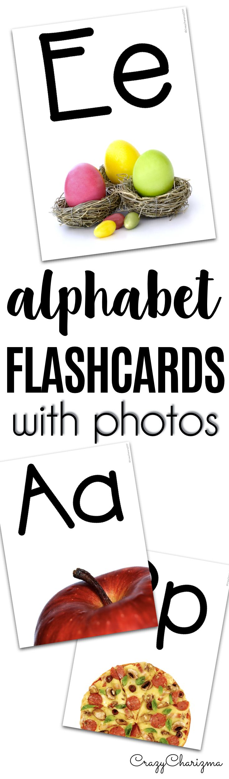 """Use these bright printable alphabet flashcards in your classroom or homeschool. The real photos will help children remember and associate letters with images. The packet can be used as word walls, flashcards for ESL students (of various ages), """"I have / who has"""" game (just print 4, 6 or 8 images on one page) and more! 