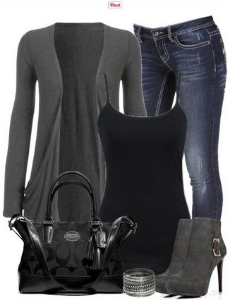 Black and Grey Outfit look, Grey Cardigan, Jeans and Grey Ankle Boots