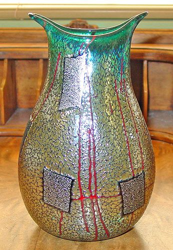 Signed Rick Hunter TEAL GREEN Art Glass POUCH Vase