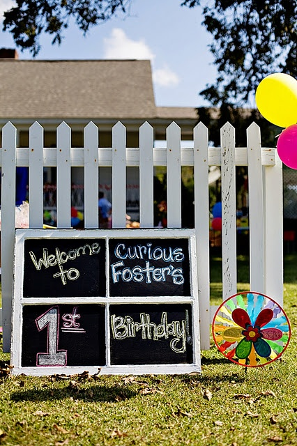 Use frames DIY chalkboards as signs for: entrance, food table, etc1St Birthday Parties, War Parties, Chalk Boards, Parties Ideas, George 1St, 1St Birthdays, Curious George, Party Ideas, Birthday Ideas