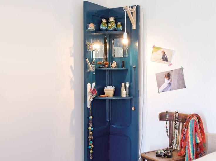 DIY fabriquer étagère d'angle avec porte
