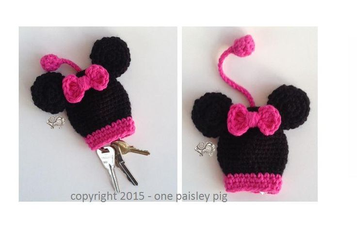 (4) Name: 'Crocheting : Minnie Mouse Key Holder