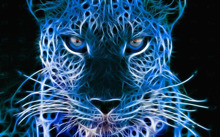 Neon blue hearts neon blue leopard by xinje blue - Neon animals wallpaper ...