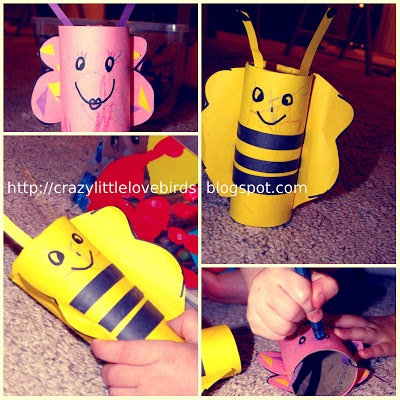 Saturday Night My Daughter And I Had So Much Fun Working On This Craft Butterfly Bumblebee Using Toilet Paper Rolls For Cra