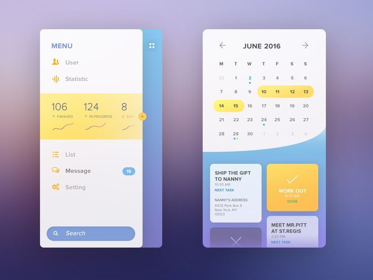 soft flat mobile UI by Tintins