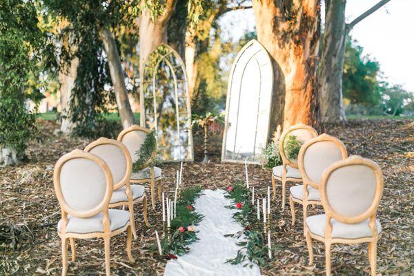 ceremony setup - photo by Natalie Schutt Photography http://ruffledblog.com/modern-gatsby-wedding-inspiration