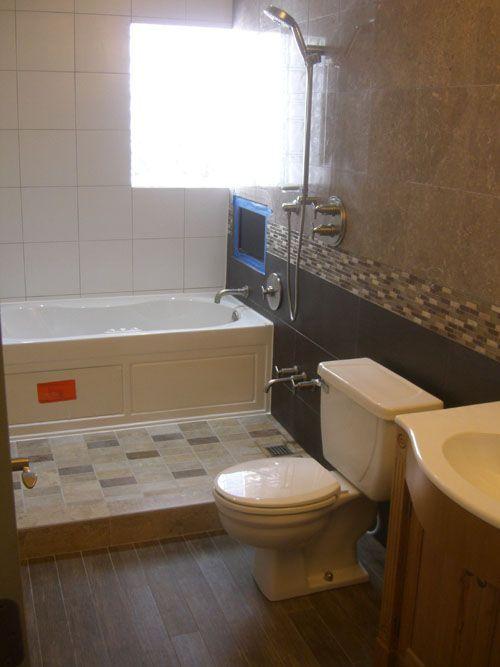 tub + wash area + glass door