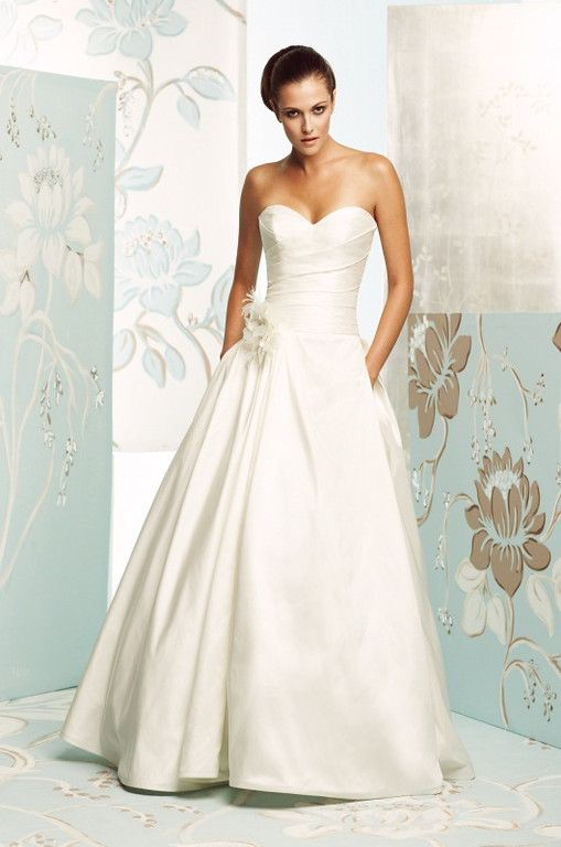 Silk Dupioni Wedding Dress Back View Strapless Crossover Pleated Bodice With A Full Side Skirt And Pockets