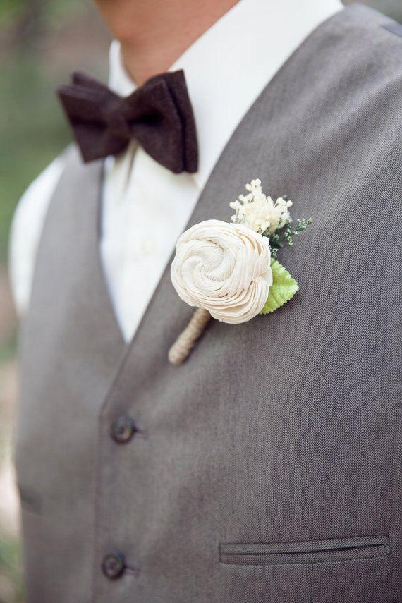 Ivory Boutonniere Made to Order- Groom Wedding, Buttonhole, Groomsmen, Sola Flower, Wedding, Wedding Flowers on Etsy, $12.50