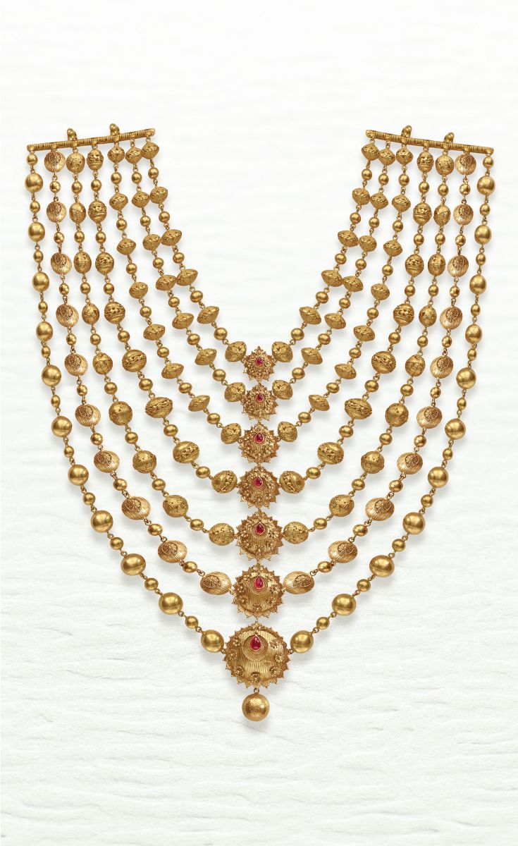 Azva Modern Layered Necklace Of Handcrafted Gold Beads