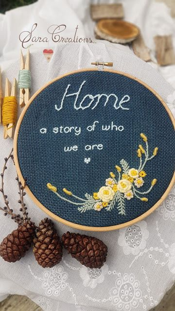 "Sara Creations - floral embroidery hoop - "" Quote of the day ""   Gherghef floral tip decowall brodat manual - colectia "" Citatul zilei """