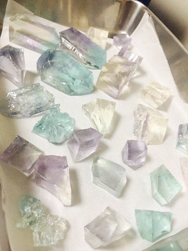 Oh my!!!!  These are actually cakes!!!  Japanese Gemstone cakes.  Maybe it's like a hardened jelly or something.  But the mix of colours and shapes are just beautiful.