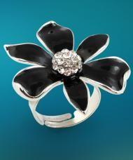 Fekete virág gyűrű, fehér kristályokkal, ezüstszínű fémből