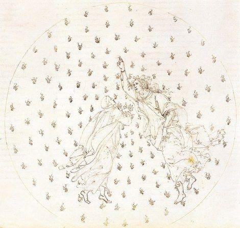 Sandro Botticelli, Divina Commedia di Dante Alighieri - Paradiso, Canto VI - Dante e Beatrice on ArtStack #sandro-botticelli #art