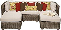 TK Classics 5 Piece Cape Cod-05A Outdoor Wicker Patio Furniture Set, Beige