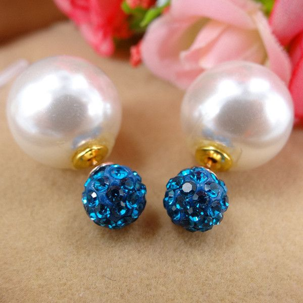 New and Trendy Double Pearl and Shamballa Ball Earrings. Stainless Steel Post, Mixed Colors (blue, red, yellow, orange, green pink, red, ect). Size 16*8mm