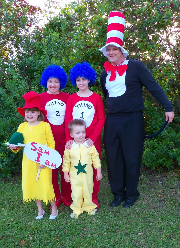 cat in the hat funny group costumesfamily halloween - Cat In The Hat Halloween Costume Ideas