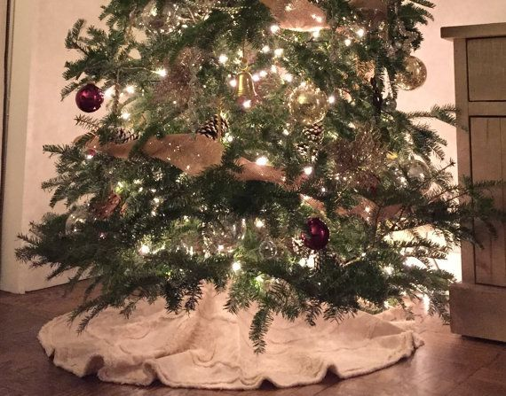 Christmas Tree Skirt in Pretty Oatmeal tan Rustic by Snipitup