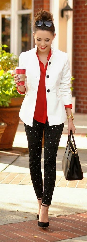White blazer, red blouse, black polka dot pants