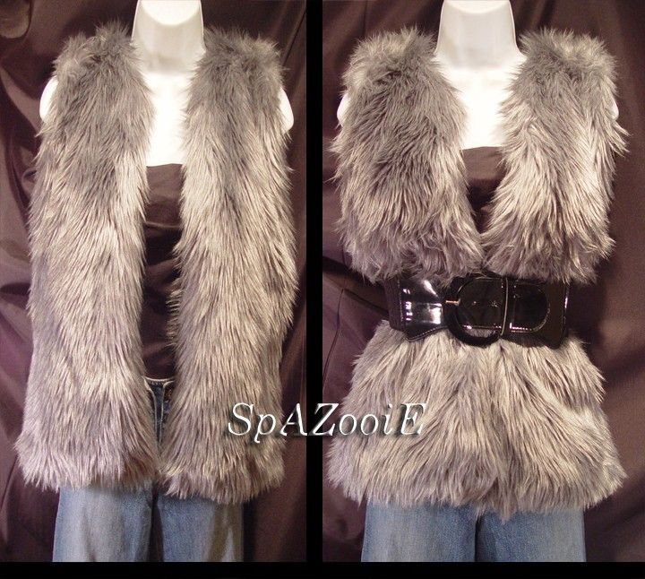 Silver gray faux fur vest jacket - hip length fur vest.