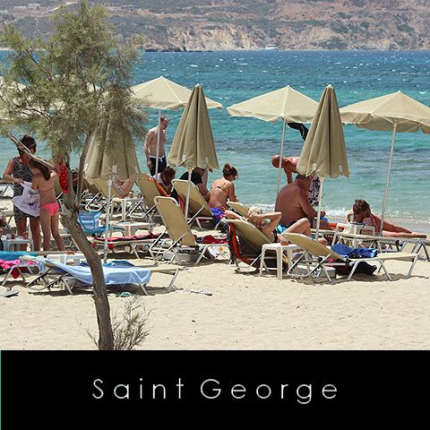 SAINT GEORGE  As with so many of the beautiful beaches on Naxos, Agios Georgios is not just for when the sun is high in the sky. Nothing could be better than finishing your day enjoying a candlelit meal under the stars at Ippokampos Café Restaurant or at one of the regular beach barbecue nights at the Flisvos Beach Café