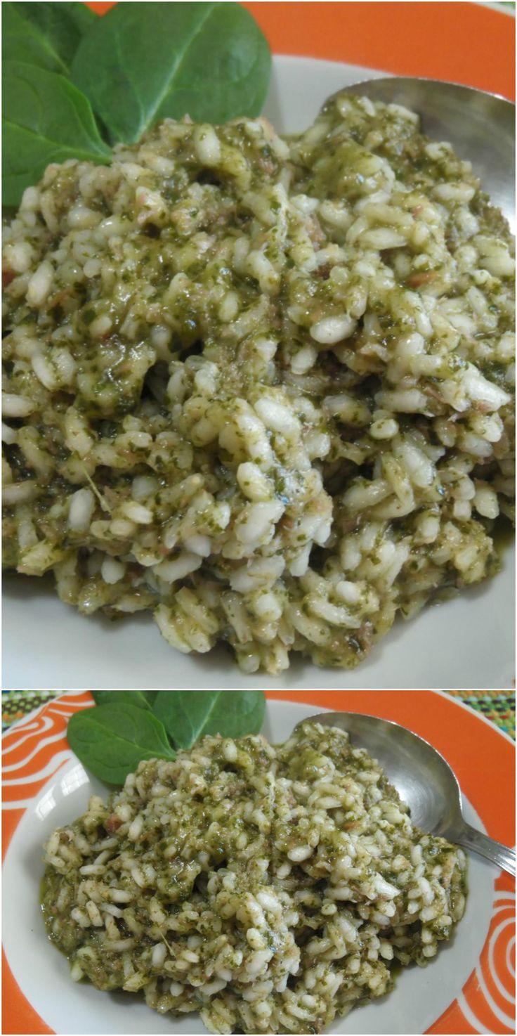 Risotto con spinaci e speck, facile e gustoso !