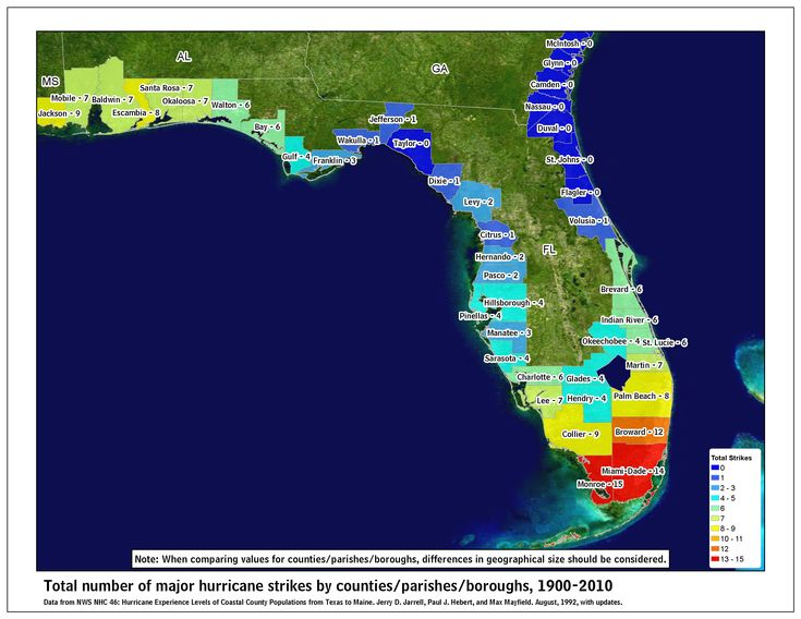Major hurricane strikes in Florida map: http://www.nhc.noaa.gov/climo/