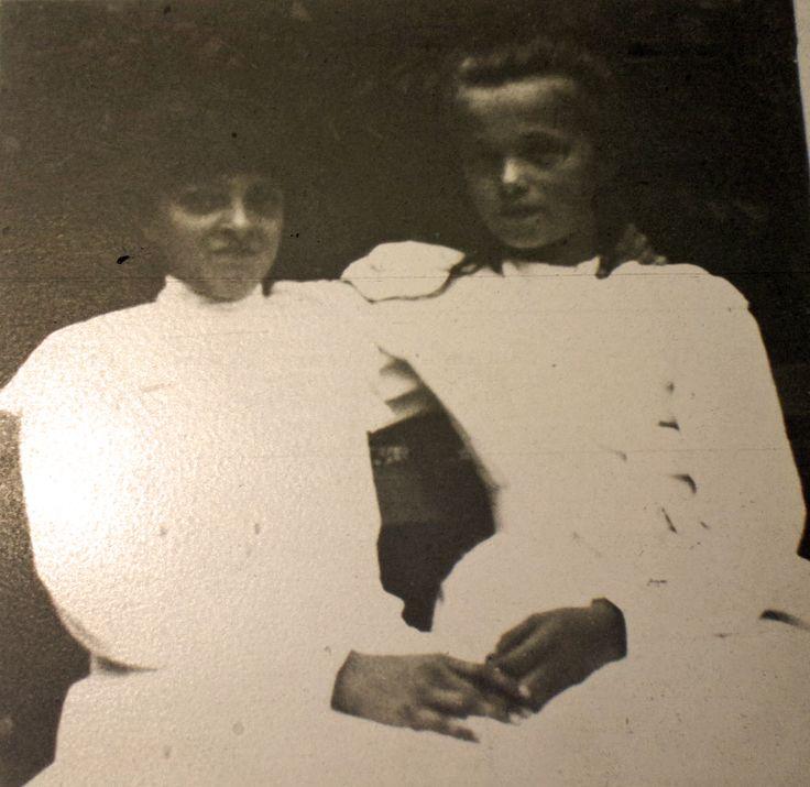 "Princess Irina Alexandrovna Romanova of Russia with her cousin,the Grand Duchess Olga Nikolaevna Romanova of Russia at Tsarskoe Selo in 1906.  ""AL"""