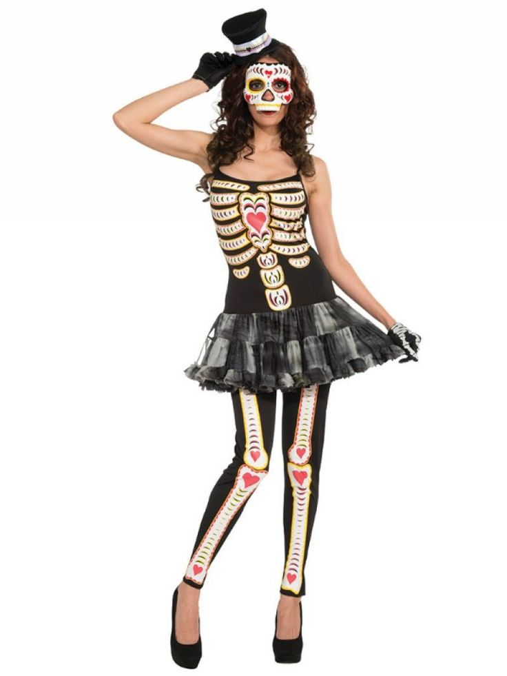 Ladies Day of The Dead Tutu Fancy Dress Mexican Halloween Costume - Dragons Den Fancy Dress Limited