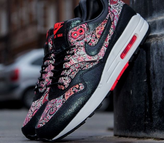 new style 87461 f3973 ... Nike Air Max 1 (l) Black Solar Red Liberty Qs - Hers trainers 147 best  Fresh creps images on Pinterest ...