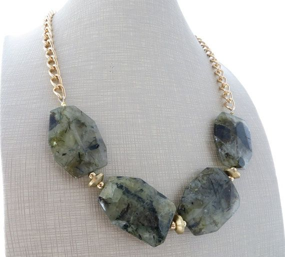 Green prehnite necklace, chunky necklace, big bold necklace, stone necklace, exotic necklace, beaded necklace, green lime gemstone jewelry Glamour chunky necklace with faceted large stones of green lime prehnite. The perfect summer necklace ! Necklace length: 19.7 inches + 2