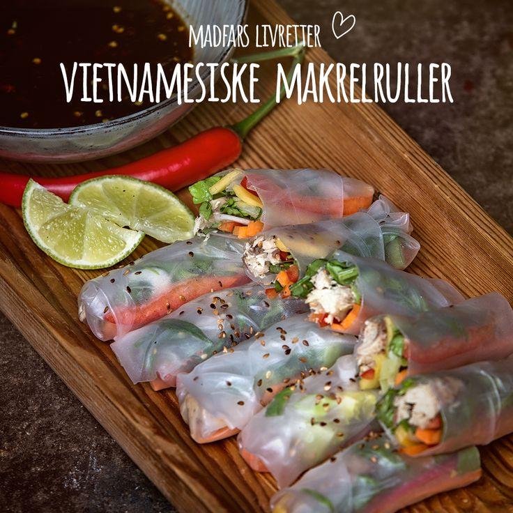 Friske vietnamesiske forårsruller er Madfars unikke livret, der indfanger smagen af den fornemste spise fra et af Asiens bedste køkkener. Friske forårsruller, mango, forårsløg og tamarindip rullet stramt i rispapir. Nammenam from 'Nam. Se opskrift i bio.