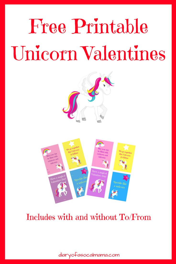 Free printable unicorn valentines for kids. Grab these free valentines day cards for your girl or boy to give to their friends or classmates. #valentines #freeprintables #unicorn #rainbow #valentinesday #forkids