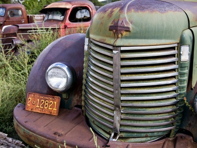 Rusted Pick-Up Trucks Photographic Print