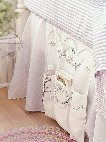 DIY: Bedside Storage - using a turned up ... TABLE RUNNER. Easy directions ...click to see (18 of 35 Easy Home Decor Crafts and Gifts)