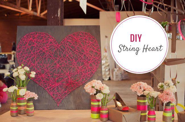 looks great: Ideas, Craft, String Heart, Diy'S, Stringheart, String Art, Diy Project, Green Wedding, Diy String