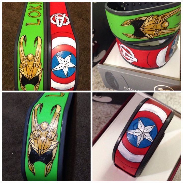 Custom painted Disney Magic Bands. Sketched in pencil then hand painted with acrylic and a gloss clear coat to protect them. Marvel Loki and Captain America.
