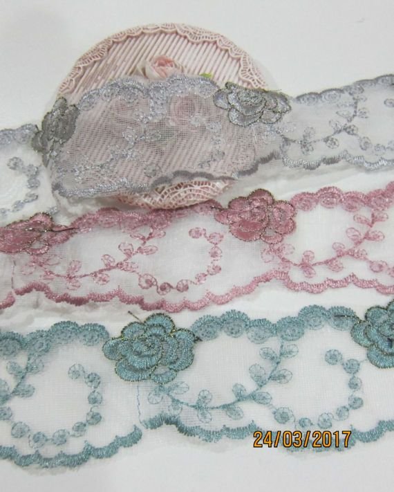 1yrd-Embroidery Scallop Lace Trim/NBD145-Tulle Scalloped Lace/Lace Trim/Vintage Lace