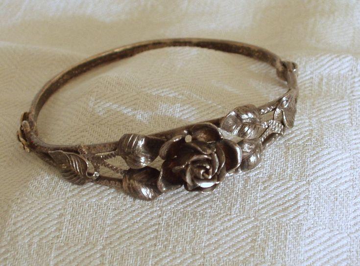 Arm-Reifen mit Rose (Silber)