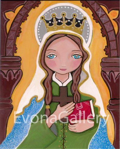 Santa Margarita de Escocia, impresión 8 x 10 del Arte Original, Mix de medios de comunicación, arte, pared Decore por Evona