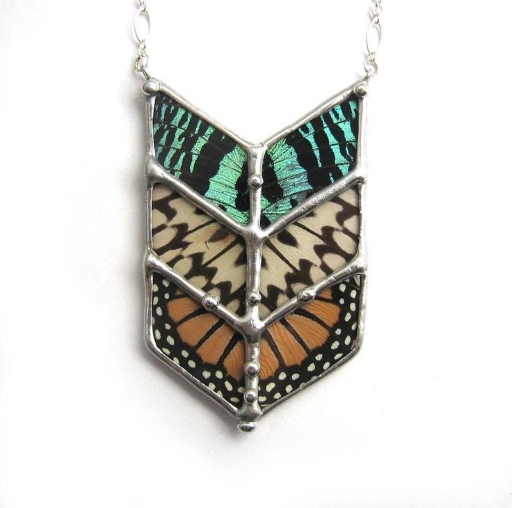 Chevron Tribal Butterfly Necklace. $225.00, via Etsy.
