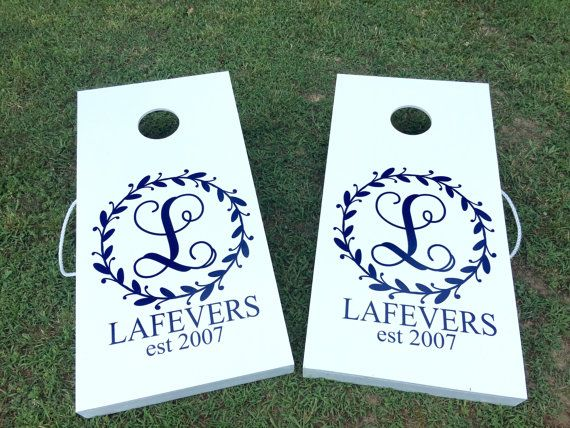 Cornhole Board Decal Monogram Decals for by CustomVinylbyBridge