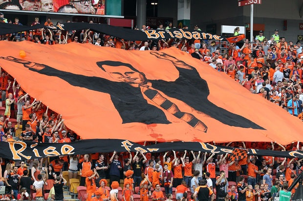 Postecoglou tifo pre-match Brisbane Roar v Perth Glory
