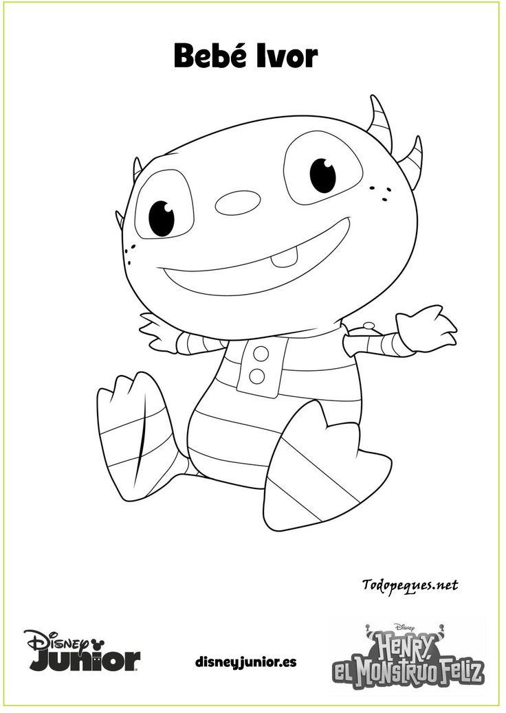 Henry El Monstruo Feliz Bebe Ivor Imprime Y Colorea Page HugglemonsterDisney JuniorDisney