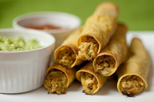 Creamy Baked Chicken Taquitos. Make a large batch and freeze them.