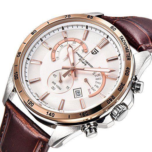 QHGstore Orologio da polso in pelle di moda sportiva multifunzionale per il tempo libero degli uomini di affari negro: Amazon.es: Relojes-PREFERIDO-