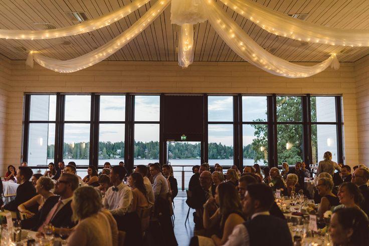 romantic lighting stringlights wedding decor ceiling decor white tulle stringligts Julia Lillqvist | Nina and Benjamin | bröllop Korsholms kyrka | http://julialillqvist.com