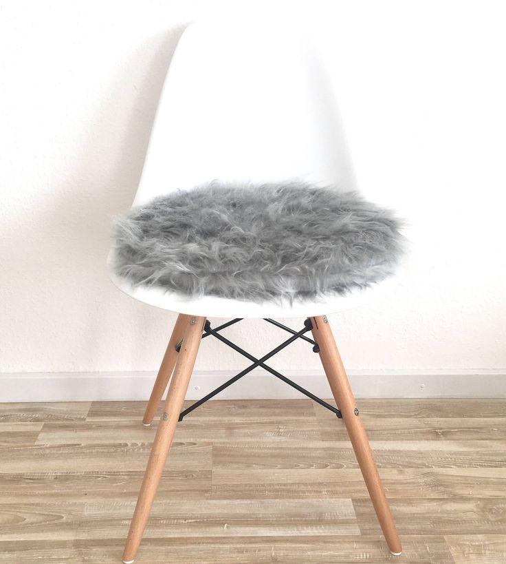 6cm oder 3 cm grauer weicher plschstoff polsterkissen handgefertigt fr eames chair mit reiverschluss von creativebeade - Eames Chair Sitzkissen