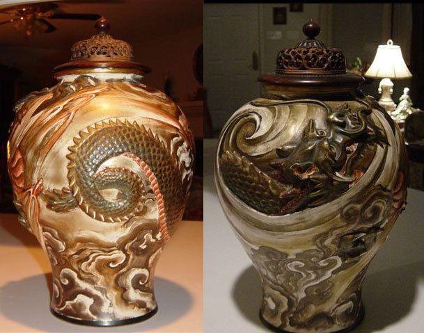Satumra Japanese Vase, Asian Vase, Japanese Pottery by ChicandShabbyShop on Etsy